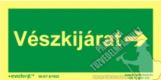 M20/1 - Emergency exit right side photoluminescent board, 2 mm thick, 200 x 100 mm