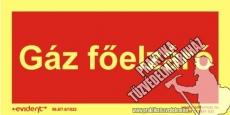 TF13/1 - Gáz főelzáró - utánvilágító tábla, 2 mm vastag, 200x100mm