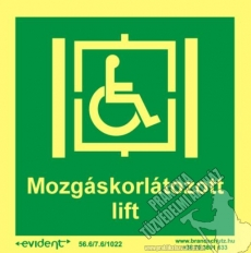 MM13/1 Escape direction for disabled persons elevator photoluminescent board, 2 mm thick, 150 x 150 mm