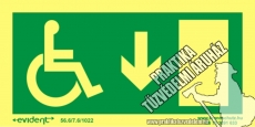 MM03/1 Escape direction down for disabled persons photoluminescent board, 2 mm thick, 200 x 100 mm