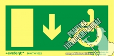 MM04/1 - Escape direction down for disabled persons photoluminescent board, 2 mm thick, 200 x 100 mm
