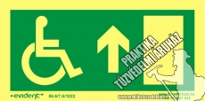 MM05/1 Escape direction up for disabled persons photoluminescent board, 2 mm thick, 200 x 100 mm
