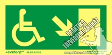 MM07/1 Escape direction right down for disabled persons photoluminescent board, 2 mm thick, 200 x 100 mm