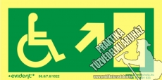 MM09/1 Escape direction right up for disabled persons photoluminescent board, 2 mm thick, 200 x 100 mm