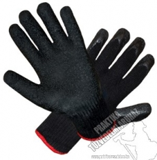 SR415 - Dipped knitted gloves with wrinkled latex coating