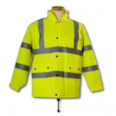 AFLASHKAT2- Bélelt téli kabát, Fluoreszkáló, Fényvisszaverő (Munkáskabát, Munkás kabát)